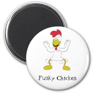 Danza del pollo del dibujo animado imán redondo 5 cm
