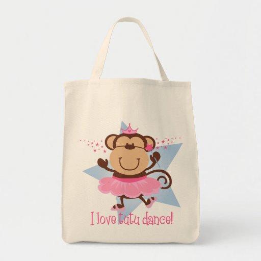 Danza del tutú del amor del mono bolsa tela para la compra