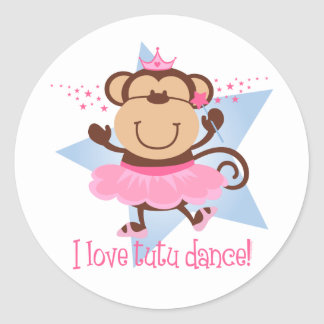 Danza del tutú del amor del mono pegatinas redondas