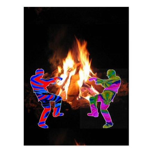 Danza del zombi de la hoguera tarjetas postales