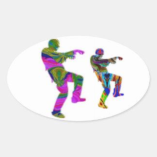 Danza del zombi - sorteos de PaperCraft de los Pegatina Ovalada