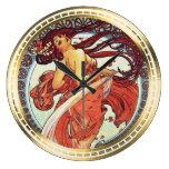 Danza - diseño de Nouveau del arte por Mucha Reloj