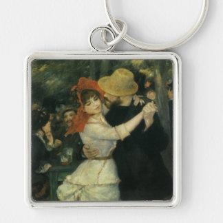 Danza en Bougival de Pedro Renoir, arte del Llavero Cuadrado Plateado