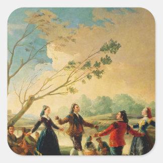 Danza en los bancos del río Manzanares, 1777 Pegatina Cuadrada
