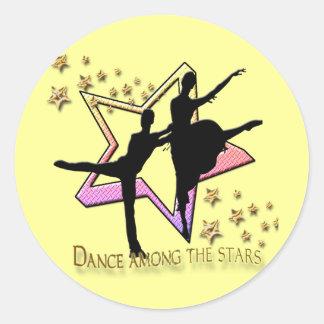 Danza entre las estrellas etiquetas redondas