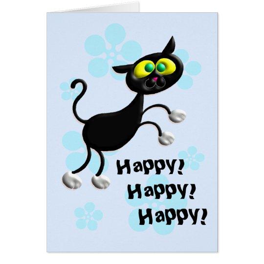 Danza feliz del gato tarjeta de felicitación