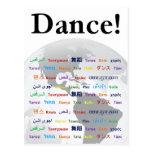 Danza global - danza en muchas idiomas postales