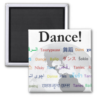 Danza global - la lengua global (personalizable) imán cuadrado