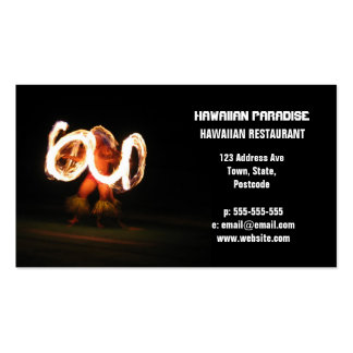 Danza hawaiana del fuego tarjetas de negocios