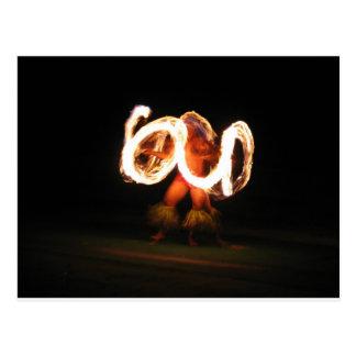 Danza hawaiana del fuego postales