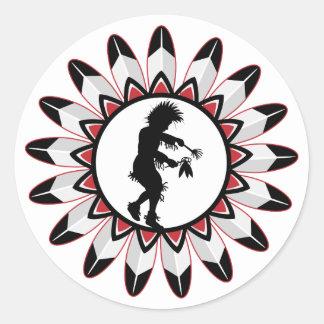 Danza india del nativo americano pegatina redonda