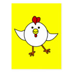 Danza linda del pollo - blanco y amarillo tarjeta postal