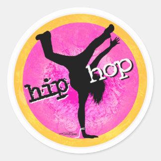 Danza - pegatinas rosados del chica de Hip Hop Pegatina Redonda