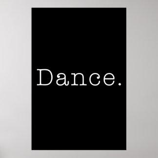 Danza. Plantilla blanco y negro de la cita de la d Póster