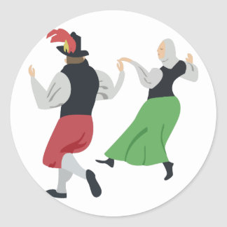 Danza popular inglesa pegatina redonda