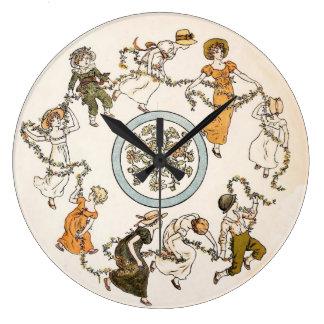 Danza redonda de los niños hermosos del vintage reloj redondo grande