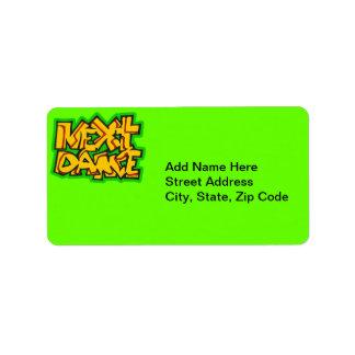 Danza siguiente etiqueta de dirección