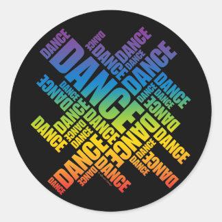 Danza tipográfica espectro pegatinas redondas