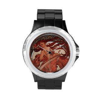 Danza una de Alphones Mucha del vintage de un relo Relojes De Pulsera