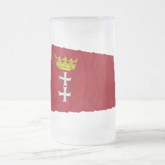 Danzig - Gdansk Waving Flag Frosted Glass Beer Mug