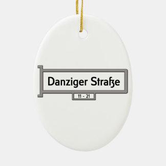 Danziger Strasse, placa de calle de Alemania Adorno Ovalado De Cerámica
