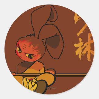 dao kwan del conejito del shaolin del hierro pegatina redonda