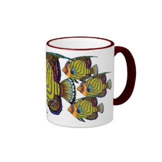 Daorges Angelfish Ceramic Painted HandleMug Ringer Coffee Mug