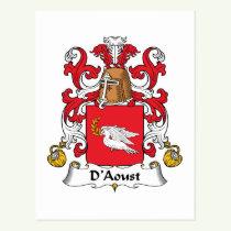 D'Aoust Family Crest Postcard