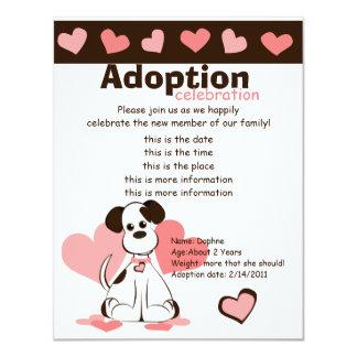"""Daphne el perro adoptado invitación 4.25"""" x 5.5"""""""