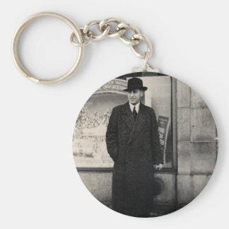 dapper 1930s man photo basic round button keychain