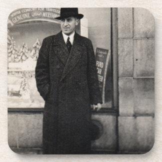 dapper 1930s man photo drink coaster