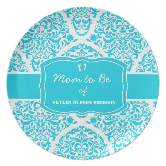 Dapper Damask Bouquet in Caribbean Blue Melamine Plate