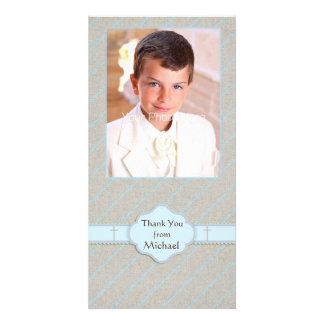 Dapper Diagonal Stripes, Religious Photo Card