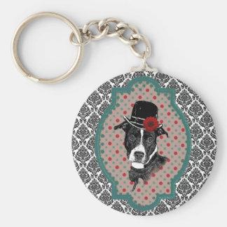 Dapper Dog Basic Round Button Keychain