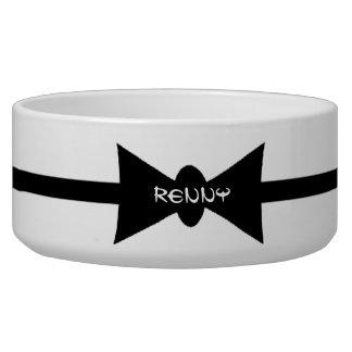 Dapper Dog Black BowTie Personalized Pet Water Bowls