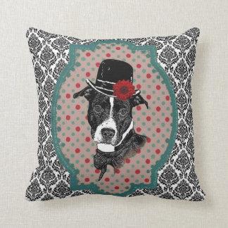 Dapper Dog - Old Timey Pit Bull Throw Pillow