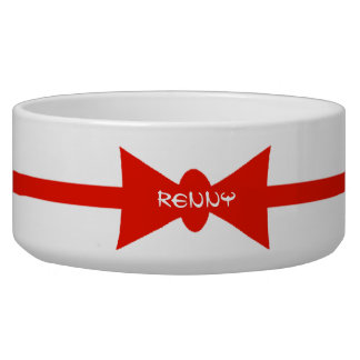 Dapper Dog Red BowTie Personalized Dog Food Bowls