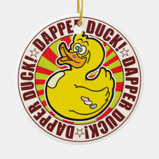 Dapper Duck Double-Sided Ceramic Round Christmas Ornament