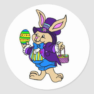 Dapper Easter Bunny Dressed In Purple Classic Round Sticker