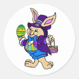 Dapper Easter Bunny Dressed In Purple Round Sticker
