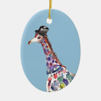 Dapper Giraffe Double-Sided Oval Ceramic Christmas Ornament