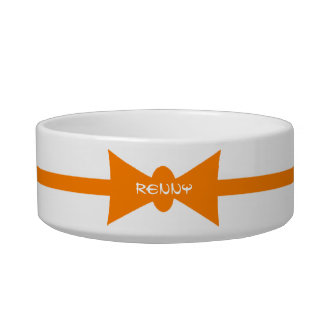 Dapper Kitty Modern Orange Personalized Bowl