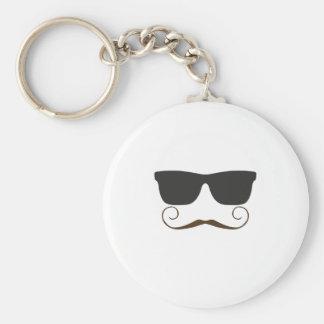 Dapper Mustache Basic Round Button Keychain