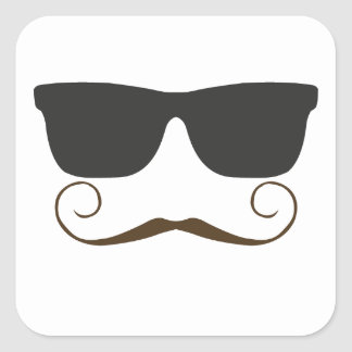 Dapper Mustache Square Sticker