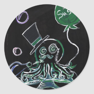 Dapper Octopus Classic Round Sticker