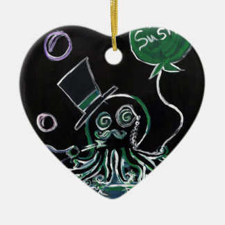 Dapper Octopus Double-Sided Heart Ceramic Christmas Ornament