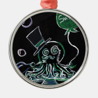 Dapper Octopus Round Metal Christmas Ornament