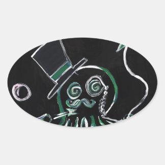 Dapper Octopus Oval Sticker