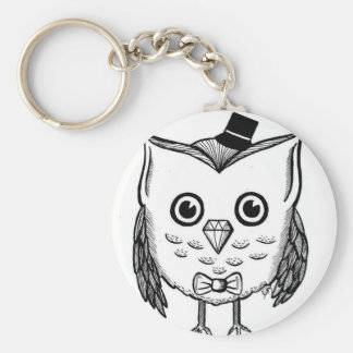 Dapper Owl Basic Round Button Keychain