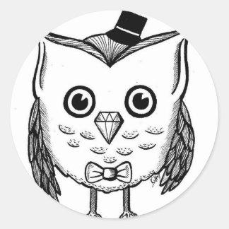 Dapper Owl Classic Round Sticker